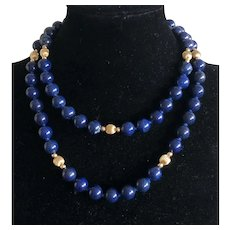 Vintage 14K Gold Lapis Lazuli Beaded Hand knotted Long Necklace
