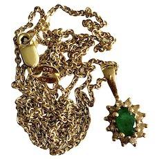 Vintage 14K Gold Columbia Emerald Necklace