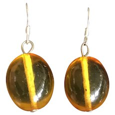Vintage Natural Clear Amber Dangle Drop Sterling Silver Earrings