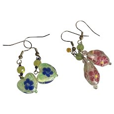 Vintage Two pairs of Art Glass Beads Dangle Drop Earrings