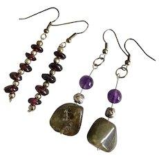 Vintage Two pairs of Gemstones Dangle Drop Earrings