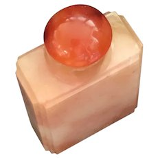 Antique Natural Hand Carved Pinkish Carnelian Agate Snuff Bottle