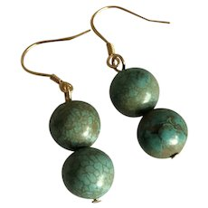 Vintage Turquoise Beads Dangle Drop Gild Sterling Silver Earrings