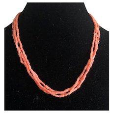 Vintage Triple Strands Genuine Angle Skin Coral Beaded Necklace