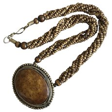 Vintage Multi-strand Bone Beads Pendant Necklace