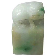 Qing Dynasties Chinese Apple Green Jade Jadeite Foo-dog Seal