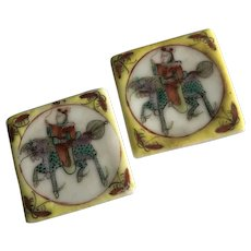 A Pair of Beautiful Antique Chinese Hand Painted Famille Rose Porcelain Boxes
