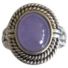 Vintage Purple Jade Sterling Silver Ring Size 6.75