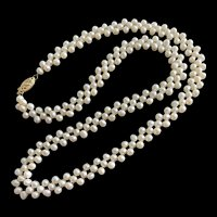 Vintage 14K Gold Refined Weaved White Freshwater Pearls Necklace