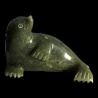 Vintage Carved Natural Spinach Green Nephrite Jade Seal Figurine