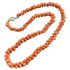 Victoria Salmon Red Dogbone Coral Beaded Choker Necklace