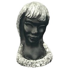Vintage Designed by Frank Schirman Exotic Black Coral Woman Bust Sculpture 1968