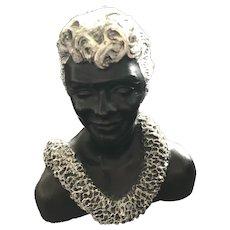 Vintage Designed by Frank Schirman Exotic Black Coral Man Bust Sculpture 1971