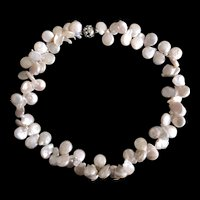 Amazing Vintage Sterling Silver Baroque Pearl Necklace