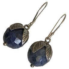 Vintage Natural Navy Blue Spinal Faceted Ball Sterling Silver Dangle Earrings