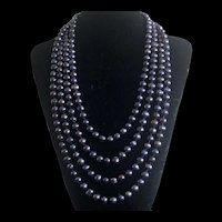"""100"""" Super Long Black Freshwater Pearl Hand Knotted Endless Necklace 88"""""""