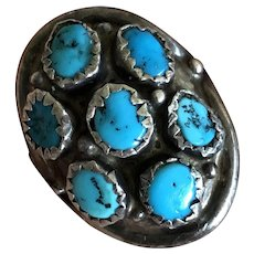 Fabulous Navajo Sterling Silver Natural Turquoise Old Pawn Ring