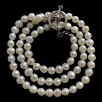 Vintage Sterling Silver White Freshwater Pearls Necklace