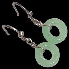 Beautiful Pair of Vintage Sterling Silver Green Jade Jadeite Dangle Drop Earrings