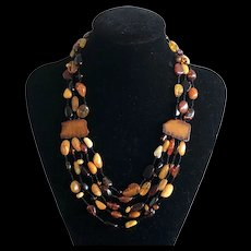 Stunning Vintage Multi Strands Natural Amber Beads Hand Knotted Necklace