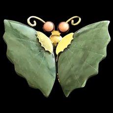 Vintage Gild Jade Coral Butterfly Brooch