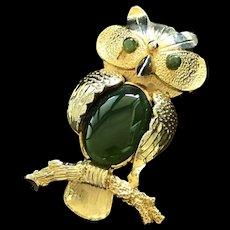 Vintage Gild Jade Owl Brooch Pendant