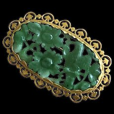 Exquisite Antique Chinese Export 14K Yellow Gold Hand Carved Jade Jadeite Bird Flowers Brooch Pin