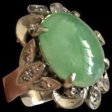 Stunning Vintage 18K White Gold Natural Icy Fresh Green Jade Jadeite Diamond Cocktail Ring