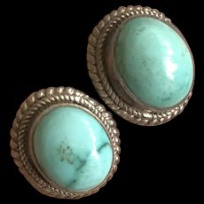 Vintage Sterling Silver Natural Turquoise Post Earrings