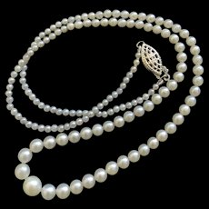 White Salt Water Cultured Pearl Graduated Necklace with Sterling Silver Clasp