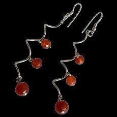 Fabulous Red Carnelian Bead Dangle Sterling Silver Earrings