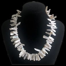 Amazing Vintage Long Shaped Baroque Pearl Necklace