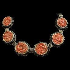 Art Deco Gild Natural Coral Bracelet
