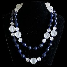 """Vintage Natural Navy Blue Sodalite Beads with Carved Melon Glass Beads Endless Necklace 43"""""""