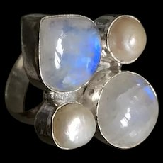 Natural Moonstone Pearl Silver Plated Ring