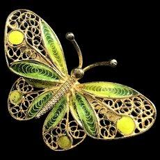 Vintage Chinese Gild 800 Silver Filigree Enamel Butterfly Pin Brooch