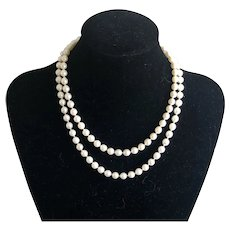 """Vintages 10K White Gold White Culture Pearls Hand Knotted Necklace 31.5"""""""