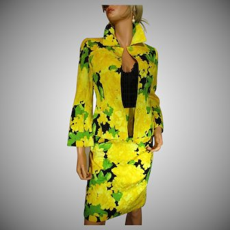 ESCADA COUTURE 2-Piece Outfit Blazer & Skirt Size 34 USA 4 Quilted Flowers Yellow Green Black