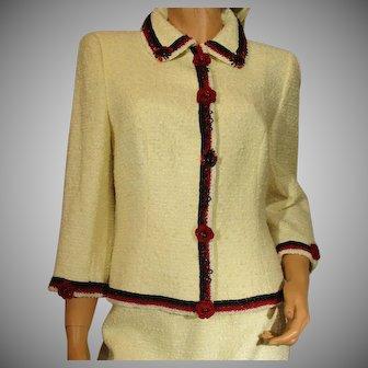 Vintage ESCADA Saks Jandel Blazer & Skirt Beaded and Embroidered Red Flowers White