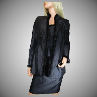 ESCADA 3-piece Set Size 36 or US 6 Black Blazer Skirt Tank Top MINK Fur Trim