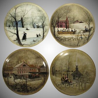 4 P Buckley Moss Plates Silhouettes Valley Life Amish