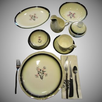 Mid Century Dinnerware 66 Pc. Set Plates Bowls Cups Creamer Sugar Bowl Dishes