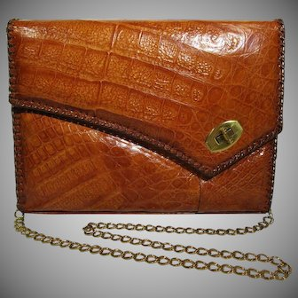 Genuine Alligator Purse Vintage Tan Shoulder Bag USA