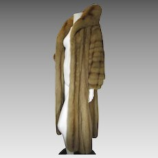 Natural Golden RUSSIAN SABLE Fur Coat Full Length Large Collar EXCELLENT