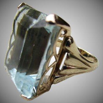 HUGE 37.05 ct. Aquamarine Ring 14k Rose Gold Sz 7.5 Estate Jewelry March Birthstone Gemstone