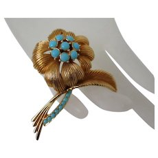 Sphinx of England Faux Turquoise Flower Brooch Vintage