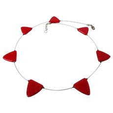 Red Lucite Triangles Thin Silver Tone Wire Necklace Vintage