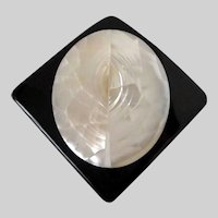 Inlaid Mother of Pearl on Black Lucite Square Brooch Vintage