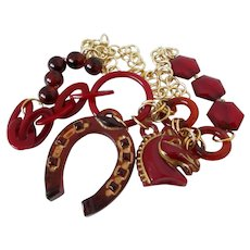 Horse and Horseshoe Red Root Beer Lucite Necklace Vintage