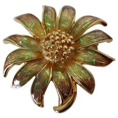 Gorgeous Iridescent Coated Flower Marked Brooch Vintage